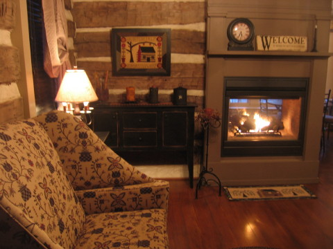 The living room in the log cabin guest house is furnished with an upholstered couch and arm chair, side tables, a gas fireplace, and a television with satellite reception and a DVD player.