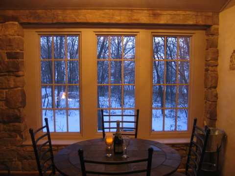 The Back Again rock room windows offer unlimited bird watching and wildlife viewing opportunities.